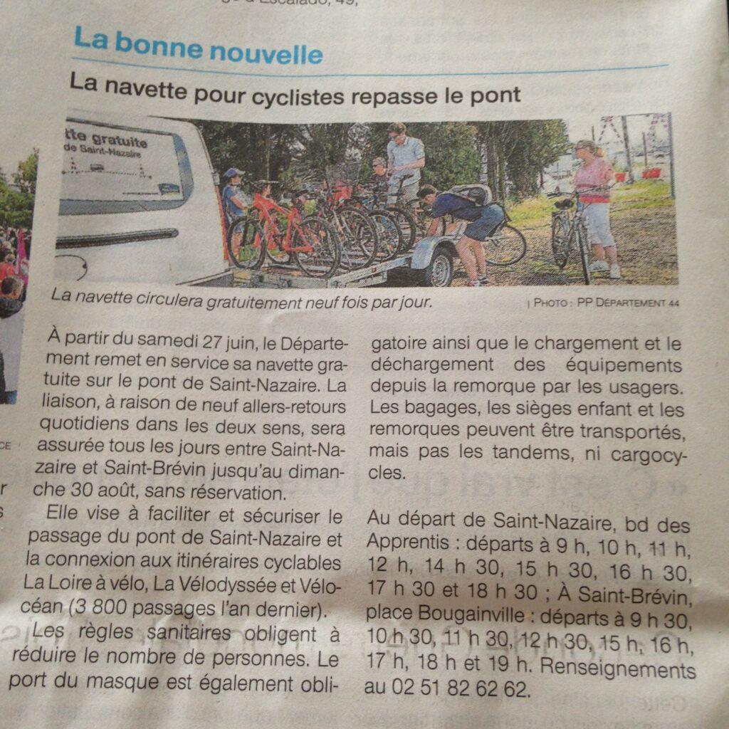 navette pour cyclistes et vélos pour traverser le pont de Saint Nazaire gratuitement au départ de ST BREVIN place Bougainville